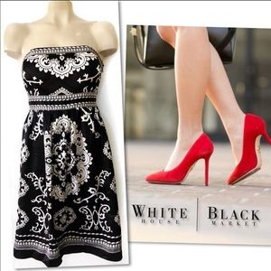WHITE HOUSE BLACK MARKET SILK STRAPLESS DRESS SZ 6